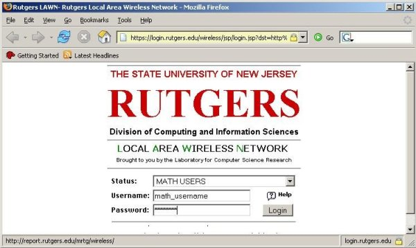 Screenshot showing login page for LAWN