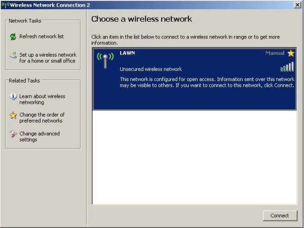 Screenshot showing wireless networks